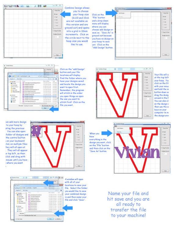 Merging Software Combine Design For Embroidery Design Font