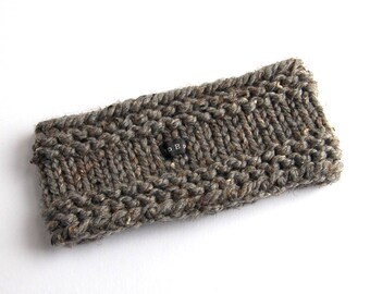 Handmade Chunky Knit Ear Warmer - 9 Colours Available. Hand knitted thick charcoal grey tweed wool blend. Mens, Womens, Kids. Sizes S/M/L/XL