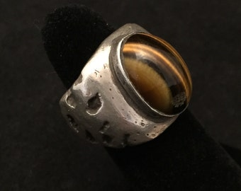 Large statement ring, sterling silver with tiger's eye, men's