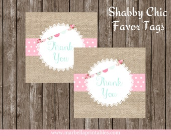 Shabby Chic Birthday/Shabby Chic Birthday Party/Birthday/FAVOR TAGS/Thank You Tags/Tags/DIY/Instant Download/Party Printables/Treat Bag Tags