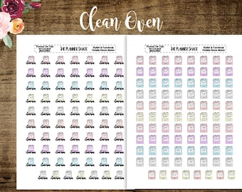 Kawaii Ovens | Clean Oven | Kawaii | Oven | Baking | Printables | Printable Planner Stickers | Planner Printables | Printable Stickers