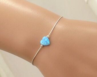 Silver opal heart bracelet , gold filled heart bracelet , blue opal heart bracelet , dainty bracelet , opal bracelet
