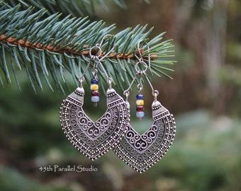 Boho Earrings, Bohemian Earrings, Boho Jewelry, Tribal Earrings, Czech Glass Earring, Hippie Jewelry, Hippie Earring, Bohemian Jewelry, Boho