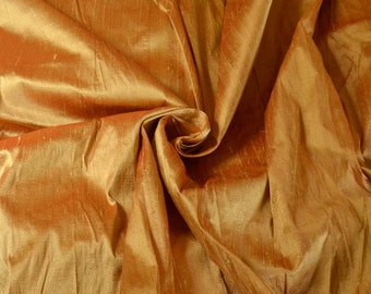 Silk Dupioni in Gold with brown shimmers, Extra wide, Half Yard, DEX 294
