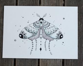 ORIGINAL Moth Magick l Watercolour, Pencil and Ink Painting