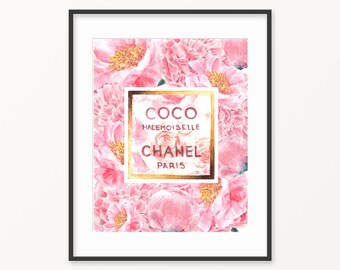 Chanel print, Chanel perfume print, Coco Chanel print, watercolor perfume, watercolor print, pink fashion print, fashion print, chanel art