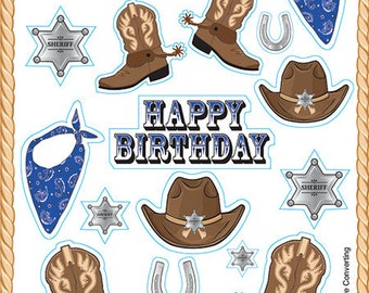Cowboy Sticker Sheets, Party Favor, Western Birthday Favors (4 sheets)