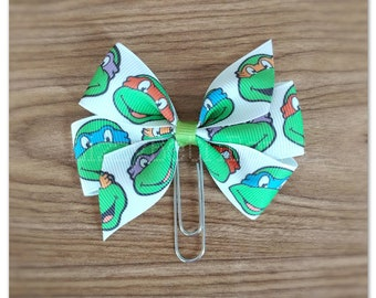 Ninja Turtles inspired bow Planner clip, bookmark, planner bow clip, heroes in a half shell, teenage mutant, donnie, mikey, Leo, raph, tmnt