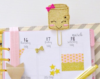 Planner Paper Clip, Gold Glitter Planner Feltie with pink bow | Large Paper Clip, Book Mark, Planner Accessories, Felt Clip | Ready to Post