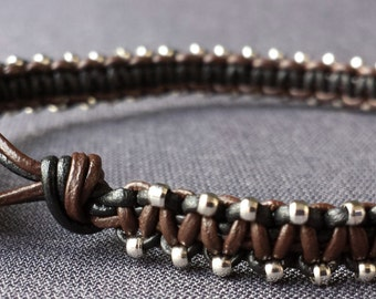 Handmade Macrame Leather Bracelet with Micro Silver Beads