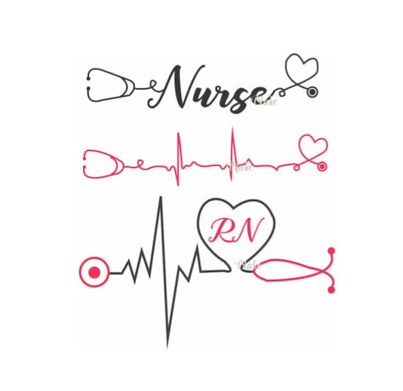 Nurse with heartbeat and stethoscope svg CUT file for