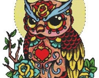Dia De Los Muertos,  Cross Stitch kit,  'Day Of The Dead Owl' By Illustrated Ink, Modern tattoo cross stitch, counted cross stitch, Owl Art