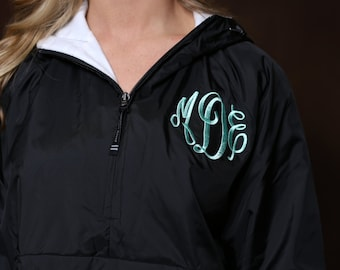 Monogrammed Rain Jacket 2 Locations - Personalized Bridesmaids Gifts- Adult Sizes