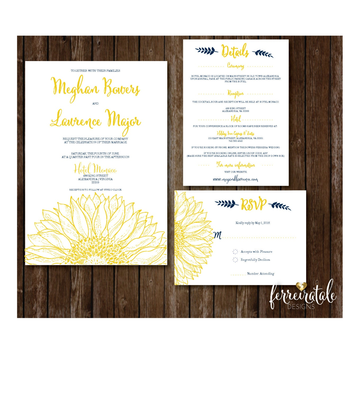 sunflower wedding invitation rustic wedding invitation floral