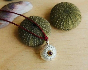 Sterling Silver Sea Urchin Pendant with Red Ruby - Medium Size Urchin Pendant with Chain or Cord