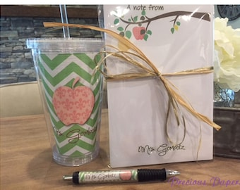 Personalized  Teacher notepad and tumbler set Teacher notepads teacher tumblers Teacher Gifts Apple tree notepad set