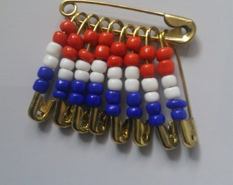 Red, white and blue stacked beads pin