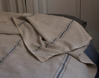 French Antique Homespun Hemp Bedsheets or Bed Cover - 19th Century