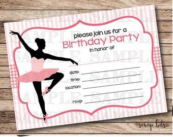 Ballet Birthday Invitation, Ballerina Party Invitation, Printable Ballerina Birthday Party Invitation, Instant Download