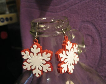 WHITE and RED SNOWFLAKE Earrings