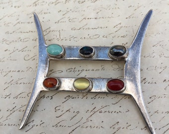 Vintage Mexican Sterling Brooch Colored Stones