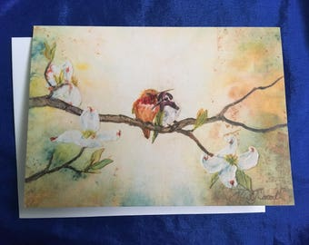 Better Together, greeting card, hummingbirds, friendship, flowers, eco dye