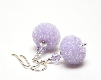 Lavender Lampwork Earrings - Artisan Sugared Lampwork Glass and Sterling Silver Earrings