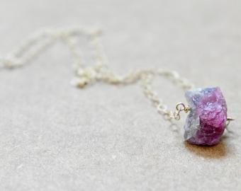 raw pink tourmaline pendant necklace. gold filled chain. rough raw pink unpolished tourmaline jewelry. tourmaline pendant necklace