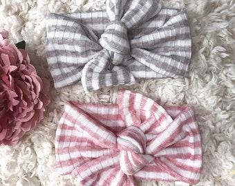 Baby Headband, Stripe Headband, Baby Photo Prop, Top Knot Headband