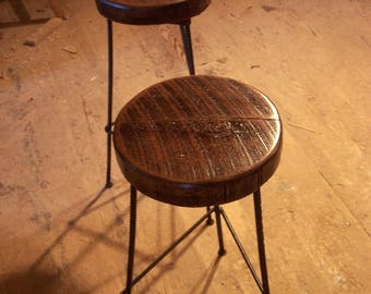 Free Shipping Reclaimed Wood 3 Leg Industrial Style Factory Bar Stools Made from Rebar