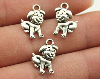 10 Puppy Dog Charms, 2 Sided, Antique Silver Tone Charms (1A-222)