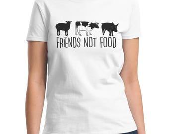 Ladies T Shirt - Friends Not Food - Shirt - Vegan - Vegetarian - Pet Lovers Tee - Love For The Animals T-Shirt