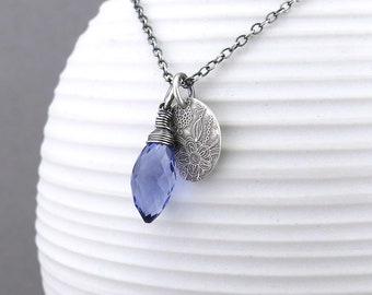 Dainty Iolite Necklace Tiny Blue Stone Necklace Gemstone Pendant Floral Boho Necklace Handmade Bohemian Jewelry - Solo