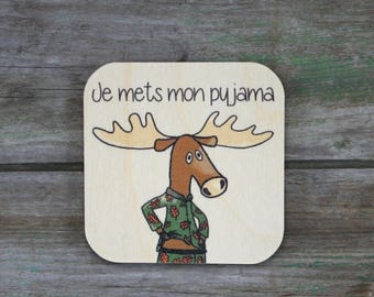 """Pictogramme """"Je mets mon pyjama"""", en bois - Routine quotidienne - 3 à 5 ans"""
