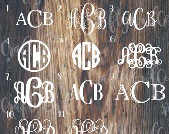 Basic Monogram Sticker, Basic Monogram Decal, Vine, Circle