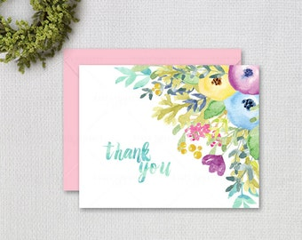 Watercolor Flower Thank you Note / Instant Download / Multicolor  Flowers / Instant Download / PRINTABLE / 72912