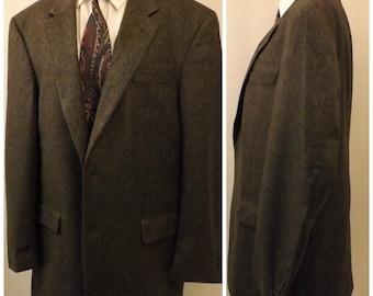 80s Jos A Banks Men's Green Herringbone Tweed Sport Coat Size 43L