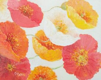 Poppy Painting, Flower Paintings, Poppies art, oil painting, Impressionist art, interior decor, orange poppies, wall art, Etsy Art, Matson