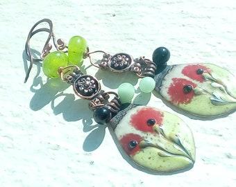 Earrings - copper enamel and poppies glass line