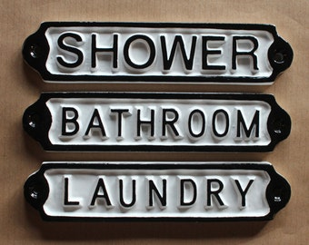 Antique Bathroom | Shower | Laundry Door Signs Shabby Chic White Railway  Cast Iron Style Embossed Cast Metal Signs ~ BRITISH MADE ~