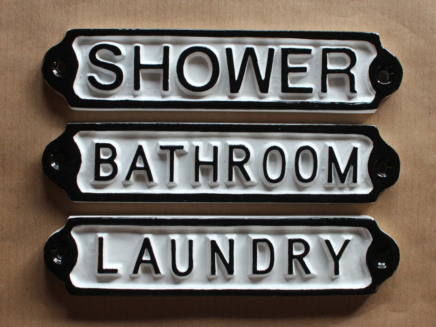 🔎zoom & Antique Bathroom Shower Laundry Door Signs Shabby Chic