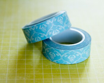Masking tape, washi tape arabesques, blue 15mm x 10m 1 roll