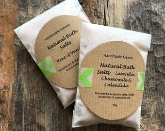 Natural Bath Salts - Foot Soak - Himalayan Salt, Epsom Salts - Single Sachet (50g) - Aromatherapy - Spa