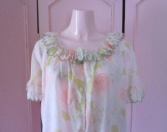 "1960s Cotton Blend Floral Print Robe by ""Komar"" Size Medium"