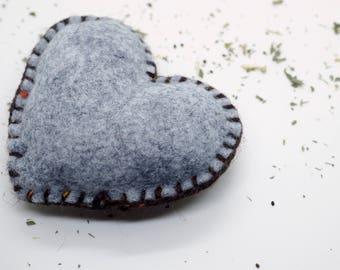 Catnip Cat Toy Pillow, Valentine's Heart, Kick Stick, Wool Felt