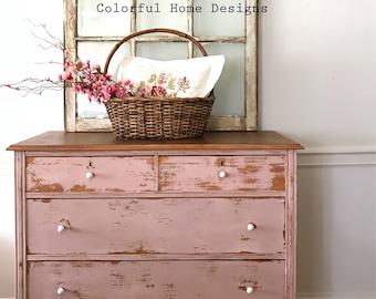 SOLD No Longer Available Vintage Dresser, Painted Dresser, Farmhouse Dresser,  Shabby Chic Dresser, Pink Dresset, Cottage Style Dresser, Pi