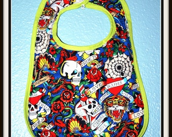 Rockabilly Tattoo Print Baby Bib.... Comes in two colors