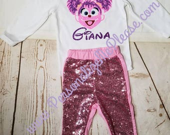 Girl Abby Cadaby Birthday Outfit, Sesame Street Birthday Outfit, First Birthday Outfit, Abby Cadaby Second Birthday Outfit, Sequin Pants
