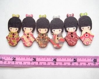 10 pcs of Japanese Doll Wood Button - 2 Hole cute kimono colourful kawaii fun Sew knit crochet scrapbook embellishment craft diy creative