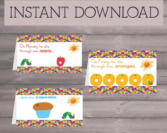 Hungry Caterpillar Birthday Downloadable Printable Food Sign Tents